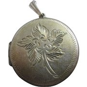 Sterling silver forget me not double pendant locket vintage 1977 English hallmark.