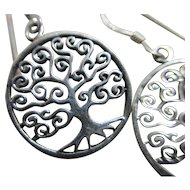 Sterling silver 'Tree of life' dangling pendant earrings Vintage c1980.