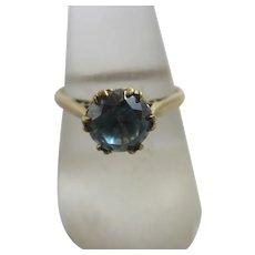 Natural blue zircon 9k gold ring antique Victorian c1890.