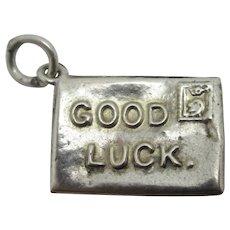 Good Luck Envelope Sterling Silver Pendant Charm Vintage Art Deco c1920.