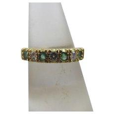 Emerald diamond 18k gold half eternity ring vintage 1992 English hallmark.