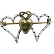 Triple heart enamel & peridot lovers knot 9k gold brooch pin antique Victorian c1890.