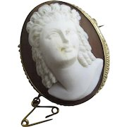 High relief shell cameo 9k gold brooch pin antique Victorian c1850.
