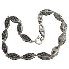 Faux diamond sterling silver bracelet Vintage c1980.