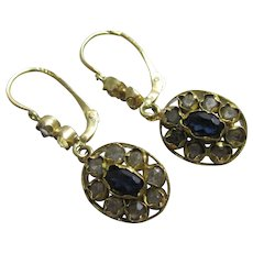 Faux diamond & sapphire 18k gold dangling ear pendant earrings antique Edwardian c1910.