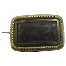 Mourning Hair 9k Gold Brooch Pin Antique Georgian c1820.