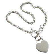 Sterling silver heart pendant charm chain link bracelet Vintage c1980.
