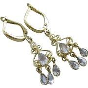 Aquamarine 9k gold dangling ear pendant earrings Vintage c1980.