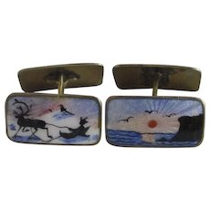 Norwegian guilloche enamel sterling silver cufflinks vintage Art Deco c1930 by Aksel Holmsen.