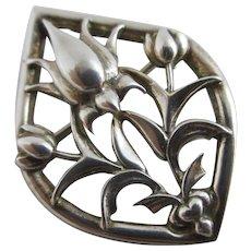 Sterling silver flower brooch pin by Ola M. Gorie vintage c1970.