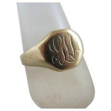 9k gold signet ring vintage Art Deco c1920.
