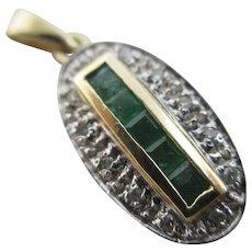 Emerald diamond 9k gold pendant vintage c1980 English hallmark.