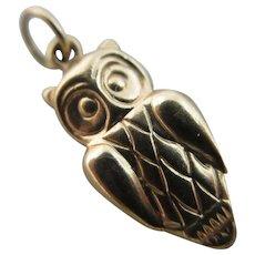 Owl bird 9k gold pendant charm Vintage c1970.
