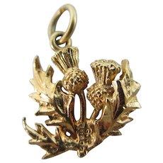 Scottish thistle 9k gold pendant charm vintage 1975 by GJLd English hallmark.