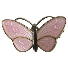 Norwegian guilloche enamel sterling silver butterfly brooch pin vintage c1950 by Aksel Holmsen.