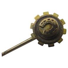 Lucky Horseshoe 15k Gold Stick Pin Brooch Antique Victorian c1880.
