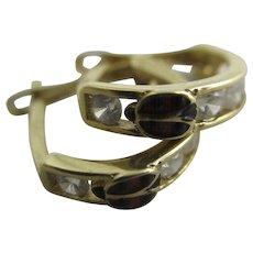 Enamel ladybird bug faux diamond 14k gold sleeper hoop earrings vintage Art Deco c1920.