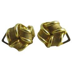 Lovers knot 9k gold earrings Vintage c1980.