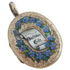 Forget me not Birthday gift enamel 9k gold back & front double pendant locket antique Victorian c1880.