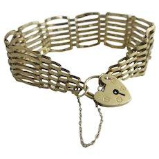 9k gold 7 bar gate bracelet heart padlock clasp vintage 1984 English hallmark.
