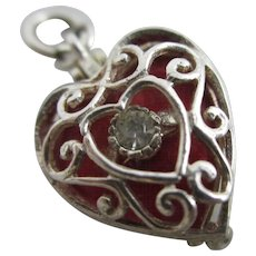 Red enamel paste ring heart box Toby pendant charm vintage c1960.