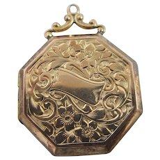 Forget me not 9k gold back & front double pendant locket antique Edwardian c1910.