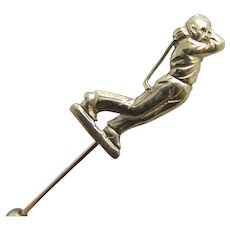 Golf 9k gold stick pin brooch vintage 1991 English hallmark.