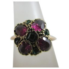 Garnet demantoid paste 15k gold ring antique Victorian c1860.