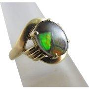 Black Opal in 14k Gold Ring Vintage c1970.
