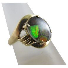 Black Opal in 14k Gold Ring Vintage c1970.