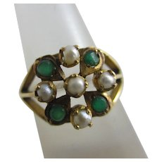 Emerald Seed Pearl 22k Gold Ring Vintage Art Deco c1920.
