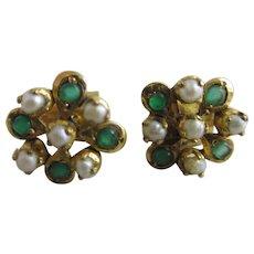 Emerald Seed Pearl 22k Gold Earrings Vintage Art Deco c1920.
