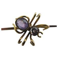 Amethyst 9k Gold Spider Brooch Pin Antique Victorian c1890.