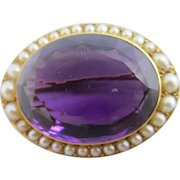 Amethyst Seed Pearl 18k Gold Brooch Pin Antique Victorian c1860.
