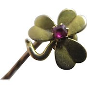 Lucky Shamrock Ruby Spinel 15k Gold Stick Pin Brooch Antique Victorian c1890.