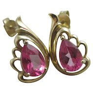 Ruby Spinel 9k Gold Ear Pendant Earrings Vintage c1980.