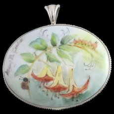 Ladybug & Angel Trumpets Hand Painted on Porcelain Sterling Silver Pendant Vintage by Mary Belle Cordell.