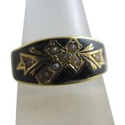 Enamel Seed Pearl 18k Gold Mourning Ring Antique Victorian c1840.