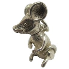 Mouse Animal Sterling Silver Pendant Charm Vintage c1960.