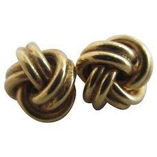 Lovers Knot 9k Gold Stud Earrings Vintage c1980.