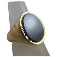 Bloodstone 18k Gold Signet Ring Vintage English 1961 English Hallmark.