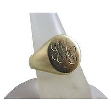 9k Gold Signet Ring Vintage c1980 English Hallmark.