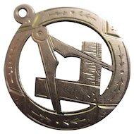 Masonic 9k Gold Pendant Antique Edwardian 1918 English Hallmark.
