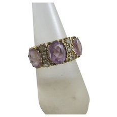 Amethyst Faux Diamond 9k Gold Ring Vintage c1980.