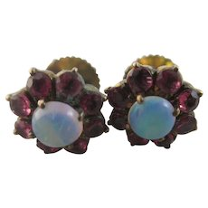 Fiery Opal Ruby 9k Gold Stud Earrings Vintage Art Deco c1920.