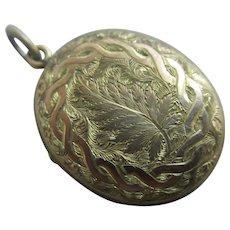 Fern & Ivy Leaves 9k Gold Back & Front Mourning Pendant Locket Antique Victorian c1880.