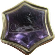 Intaglio Greyhound Dog Amethyst 15k Gold Fob Seal Pendant Antique Victorian c1840.