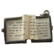 Opening Bible Lords Prayer Sterling Silver Pendant Charm Vintage c1970.