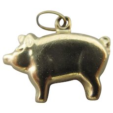 Pig 9k Gold Pendant Charm Vintage c1970.