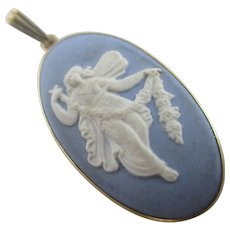 Powder Blue Jasperware Wedgwood Sterling Silver Pendant Vintage c1970.